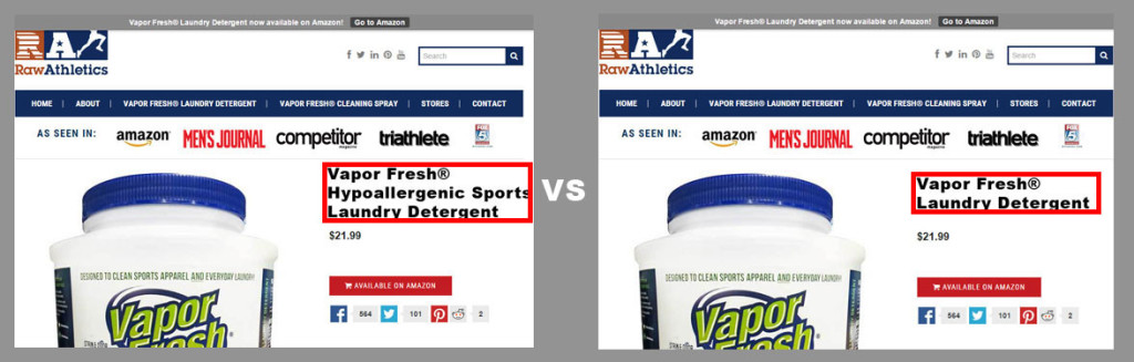 A/B Ecommerce Split Test Product Title Name