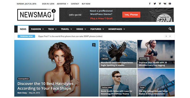 Newsmag Paid WordPress Magazine Theme